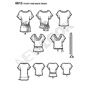New Look Sewing Pattern 6915 Misses Tops, Size A (8-10-12-14-16-18)