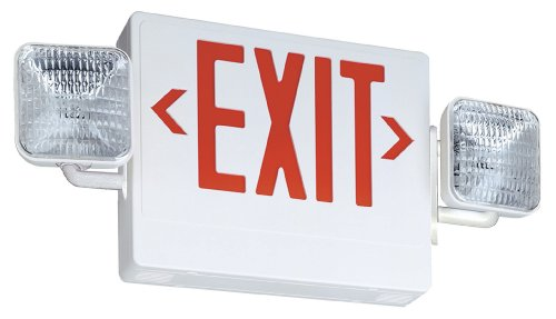 Lithonia Ecr Led M6 Integrated Led Exit/Unit Combo Light, White/Red