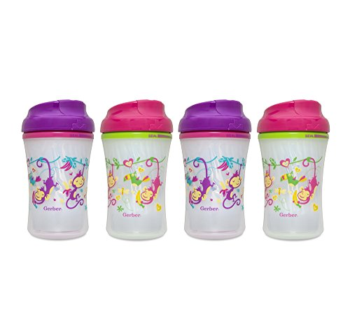 Gerber Graduates Advance Developmental Insulated Cup Like Rim Sippy Cup in Girl Patterns, 9-Ounce (Pack of 4)