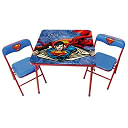 O\'Kid\'s Inc. Durable, Non-Toxic Superman Kid\'s 3-Piece Square Table and Chair Set, Perfect for Home and Play Room