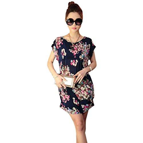 Franterd-Women-Skirts-Print-Short-Sleeves-T-Shirt-Blouse-Loose-Mini-Dress