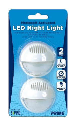 Prime Wire & Cable Nlar2P Automatic Rotating Led Night Light, 2-Pack
