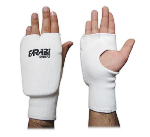 ELASTICATED KARATE/BOXING MITT / PUNCHING GLOVES WHITE