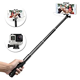 Selfie Stick, BRIDGEGEN Foldable Extendable Self-portrait Aluminum Monopod Wired Selfie Stick with Built-in Remote Shutter With Adjustable Phone Holder for iPhone 6, 6S, 5, 5S, Android and GoPro