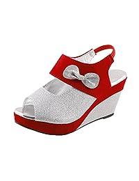 Thari Choice Woman And Girls Synthetic Velvet Wedges Heel Sandal - B01DHWARAK