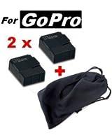 Pack 2 x Batterie rechargeable pour GoPro HD hero 3 & 3+ avec étui de rangement (Lot batterie Lithium compatible Go Pro White, Silver et Black Edtion) WINUP®