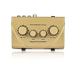 Audio Mixer Fifine® Karaoke Sound Echo Mixer with Cable for Pc Tv Amplifier Support Website Karaoke (Gold)