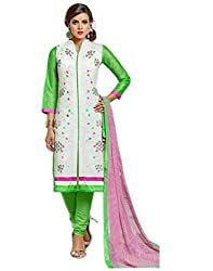 Surat Tex White & Green Color Party Wear Embroidered Chanderi Cotton Un-Stitched Dress Material-G959DL711ZE