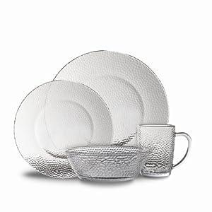 Gibson Riverina 16-Piece Dinnerware Set, Clear Hammered Glass