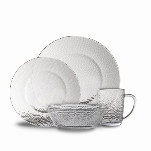 Gibson Riverina 16-Piece Dinnerware Set, Clear Hammered Glass