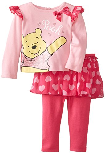 Disney Baby Baby-Girls Newborn Pooh 2 Piece Skirt And Pant Set, Prism Pink, 12 Months front-462328