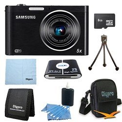 Samsung DV300F 16-megapixel DualView Digital Camera Bundle Includes 8 GB Memory Card, Card Reader, Deluxe Carrying Case, Mini Tripod, and 3Pcs. Lens Cleaning Kit.