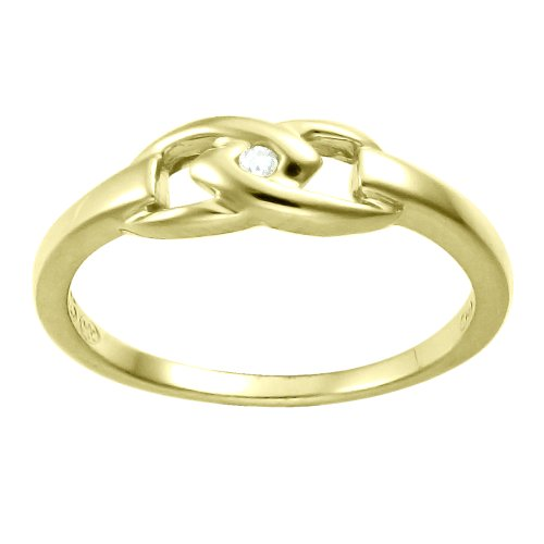 Children's 10K Gold Overlay Sterling Silver Diamond Accent Ring, Size 4