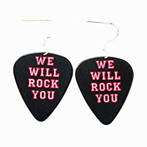 Queen Königin Plektrum Ohrringe Rock Musik Schmuck schwarz Konzert We Will Rock You