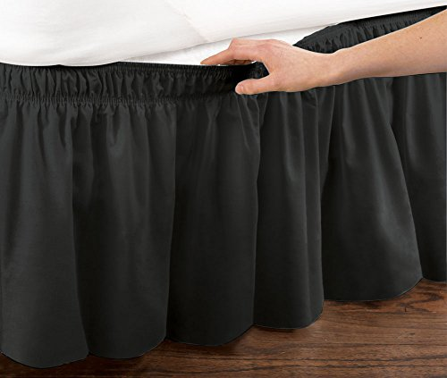 Collections Etc Elastic Bed Wrap Ruffle Bed Skirt, Queen/King, Black