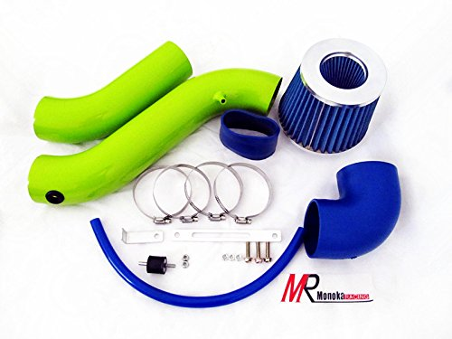 05 06 07 08 Dodge Charger/Magnum 3.5L V6 Green Piping Cold Air Intake System Kit With Blue Filter