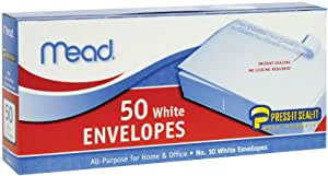 Mead #10 Envelopes, Press-It Seal-It, White, 50/Box  (75024)
