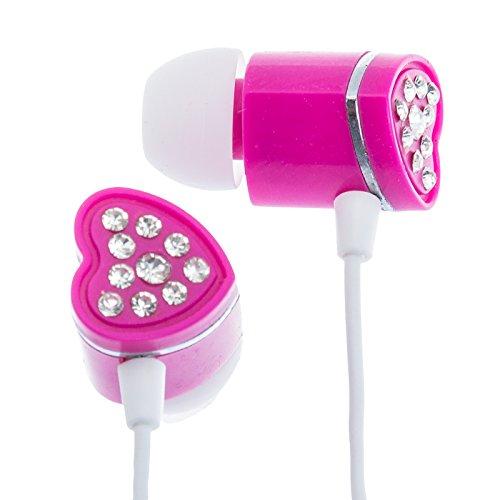 Crystal Rhinestone Heart Earbud Headphones (Pink)