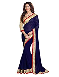 Temptingg Fashions Navy Blue Chiffon Heavy Lace Embroidery Work Saree