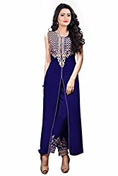 Zeel Fashion Women's Georgette Unstitched Dress Material (zf01_Blue_Free Size)