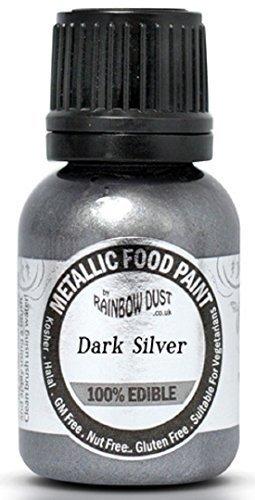 metalico-oscuro-plata-comestibles-alimentos-pintura-por-arco-iris-polvo