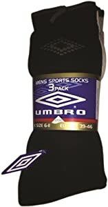 Umbro Men's Socks (Pack of 3) - Black/Grey/White