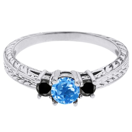 0.57 Ct Round Swiss Blue Topaz Black Diamond 14K White Gold 3-Stone Ring