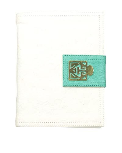 Marina Vaptzarov Medium Soft Vegetal Leather Cover Travel Diary with Brass Detail, Turquoise/White