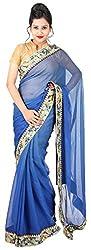 Kasturi Sarees Basement Women's Chiffon Saree (Blue)