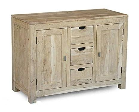 Aparador de madera de acacia maciza muebles de madera maciza Nature White #84