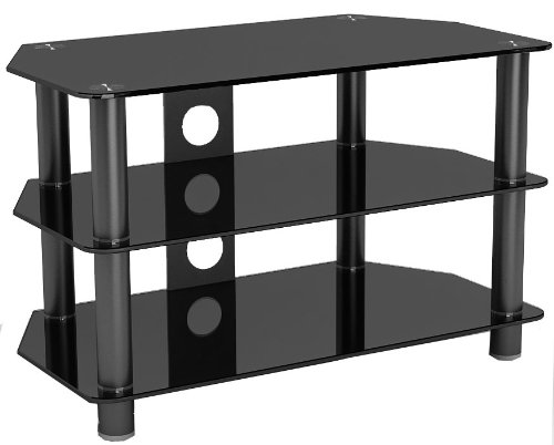 Concept GT-3 Black Glass TV Stand with Black Legs