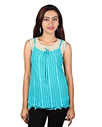 PurpleYou Women's Plain Shirt (E5WTBL011, Blue , Small)