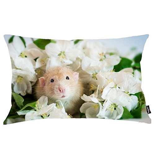 i FaMuRay Decorativa per Cuscino (Insert & Cover), White Rodent Green Mouse Hamster Cute Flower King Size 20x36