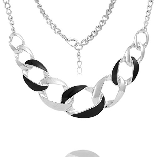 1Pc New Women Fashion Silver Plated Choker Chunky Statement Bib Necklace 40Cm front-806913