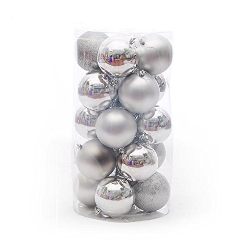 Wrisky Christmas Tree Xmas Balls Decorations Baubles Party Wedding Ornament 24pcs 4cm (Silver)