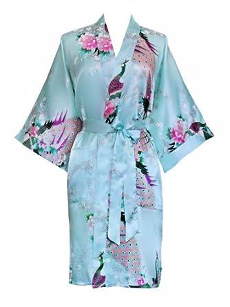 Old Shanghai Women's Kimono Short Robe - Peacock & Blossoms - Aqua