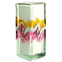 Kitras Art Glass Van Glow Floral Blown Glass Vase - Amber Gold & Pink Swirls