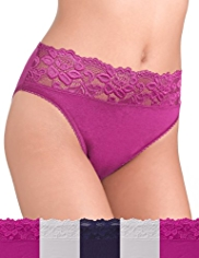 5 Pack Cotton Rich High Leg Knickers with Lace