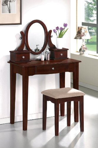 Vanity set w/ oval shaped mirror and 3 storage drawer By Poundex