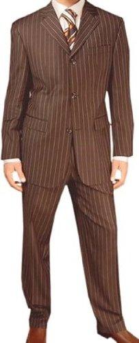 MUGA Pinstripe mens Suit + Waistcoat, Brown, size 58R (EU 68)