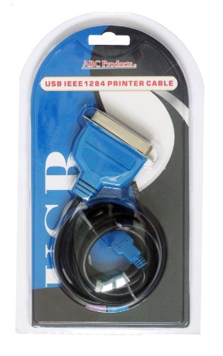 Imagen de ABC Products ® USB a 36 pines del puerto paralelo Adaptador Adaptador de cable Cable IEEE1284 plomo para Brother Canon Epson Stylus Lexmark HP Hewlett Packard os Impresoras Impresoras Centronics IEEE-1284 PC y MAC Windows 98SE, 2000, XP, Vista, 7, MAC V8.6 ~ 9.2 y superior