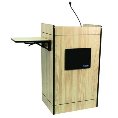 Multimedia Computer Lectern With Sound System Finish: Maple