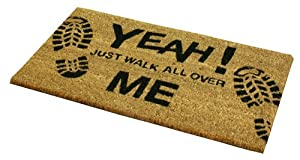 JVL PVC Backed Novelty Coir Walk All Over Me Entrance Door Mat, 33 x 60 cm