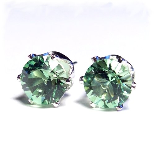 8mm 925 Sterling Silver Stud Earrings set with Xilion Peridot green Swarovski Crystal. Gift Box. Beautiful jewellery for very special people.