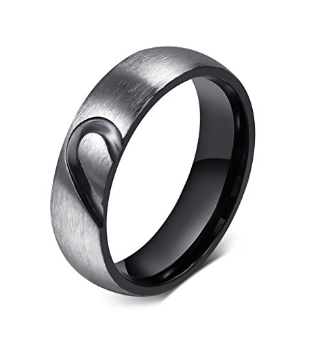 Mens Stainless Steel Love Puzzle Couple Ring for Valentines Wedding Engagement Promise,Size 9