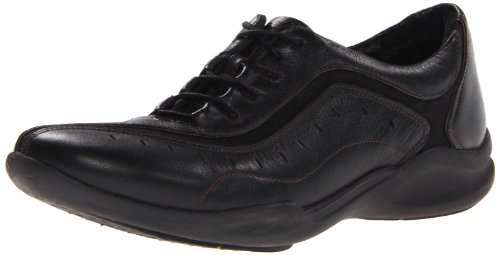 Clarks Women's Wave.Wheel Oxford,Black Leather,8 US