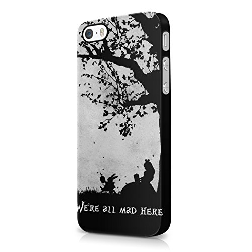 Alice In Wonderland We Are All Mad Here Hard Plastic iPhone 5 / iPhone 5S Phone Case Cover (Cat On Alice And Wonderland)