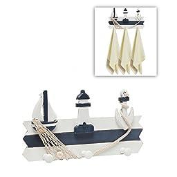 Decorative Nautical Blue White Design Wall Mounted Wood Hooks Hanging Rack / Storage Organizer - MyGift®