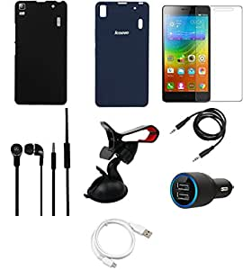NIROSHA Tempered Glass Screen Guard Cover Car Charger Headphone / Hands Free USB Cable Car Holder for Lenovo A7000 - Combo