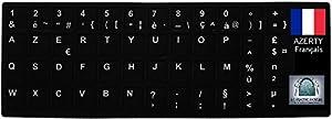 Sticker Autocollant AZERTY NOIR pour Touches de Clavier d'Ordinateur Portable pour utilisateur Français voire Belge - Conversion de Clavier QWERTY en AZERTY - ARMORMICRO®
